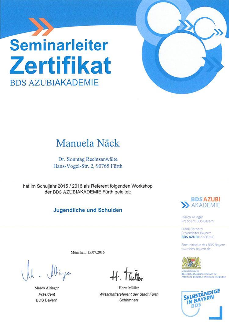 Seminarleiterzertifikat der BDS Azubi-Akademie, Manuela Näck