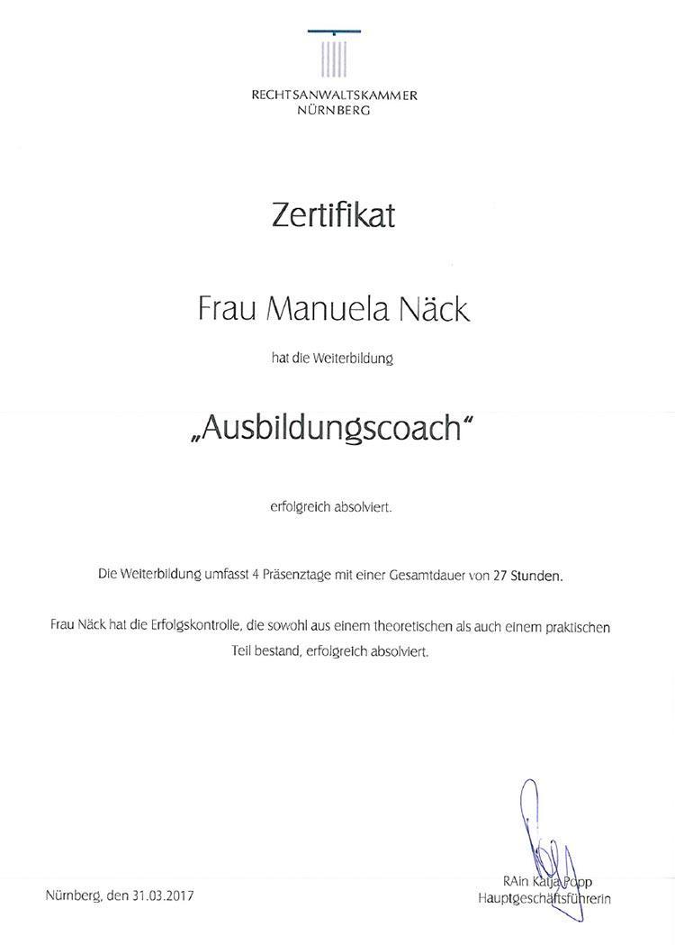 Zertifikat der Rechtsanwaltskammer Nürnberg