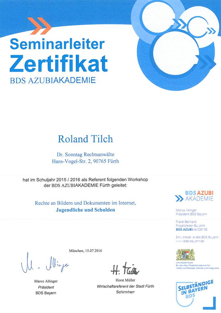 Seminarleiterzertifikat der BDS Azubi-Akademie, Roland Tilch