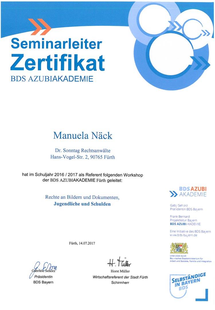 Bildungspartnerzertifikat der BDS Azubi-Akademie