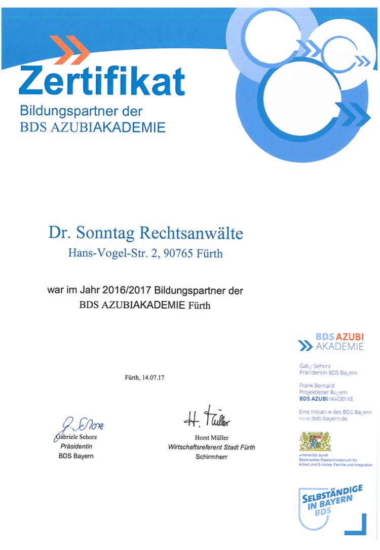 Bildungspartnerzertifikat der BDS Azubi-Akademie-2017